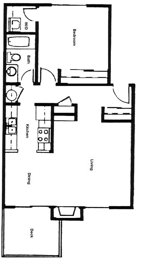 Flat, 1 Bedroom Floor Plan